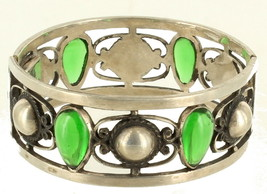 "Vintage Sterling Mexico Poured Green Glass Domes 1"" Thick Filigree Bangle Bracel - $144.89"