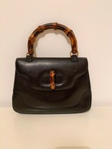 Gucci Vintage Bamboo  Late 80's Black Leather Hand Shoulder Bag 100% Aut... - $513.10