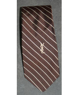 YVES SAINT LAURENT Vintage Men's Brown Silk Striped Skinny Neck Tie GIMB... - $54.90