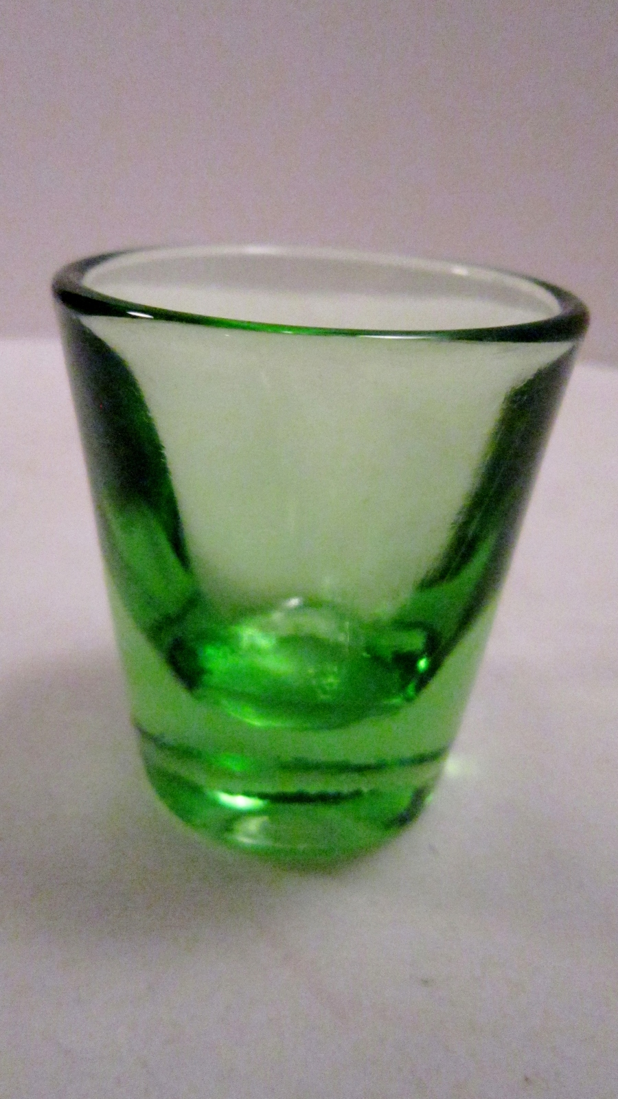 Shot Glass or Toothpick Holder, Green Heavy Thick Vintage Glass