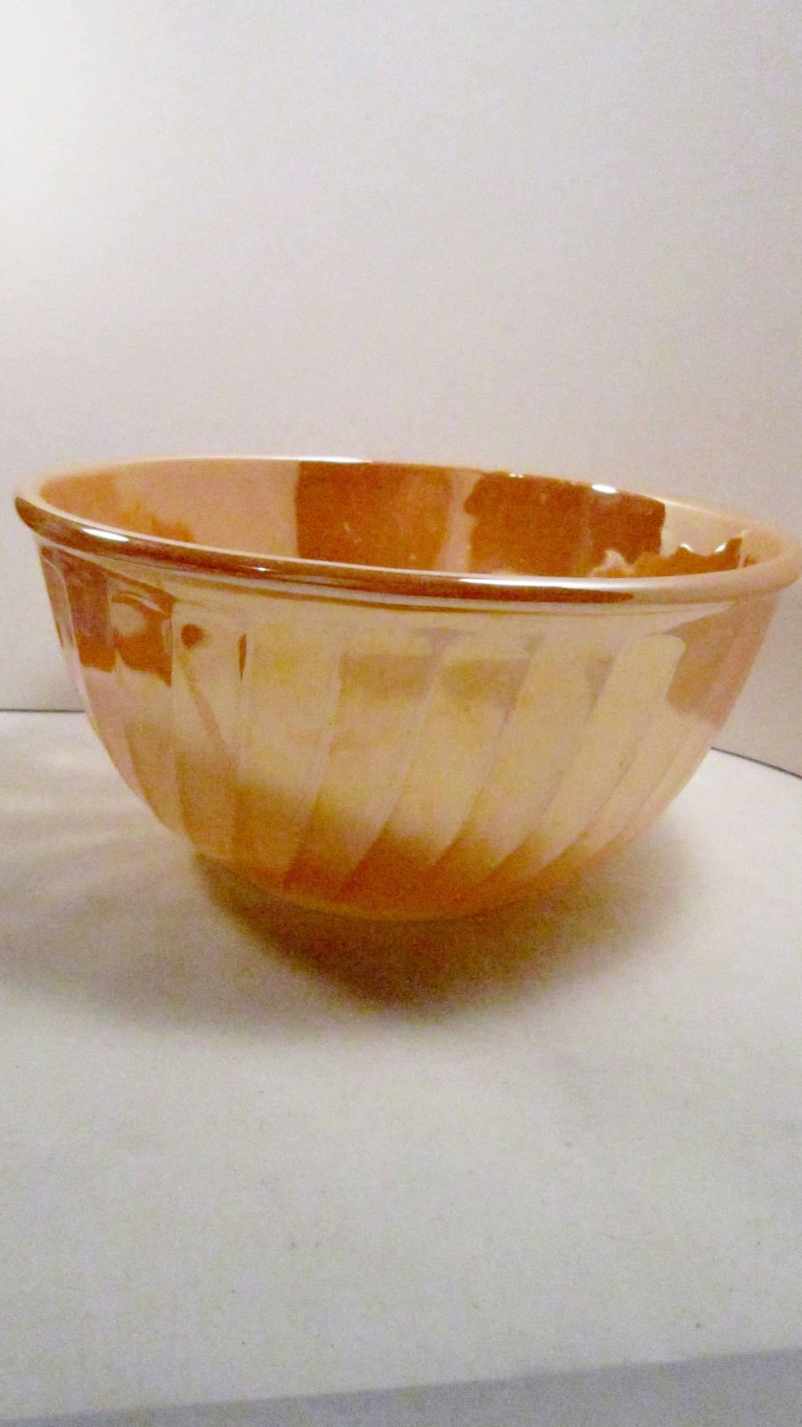 Fire King Mixing Bowl Peach Lustre Large 9 inch Vintage 1950s
