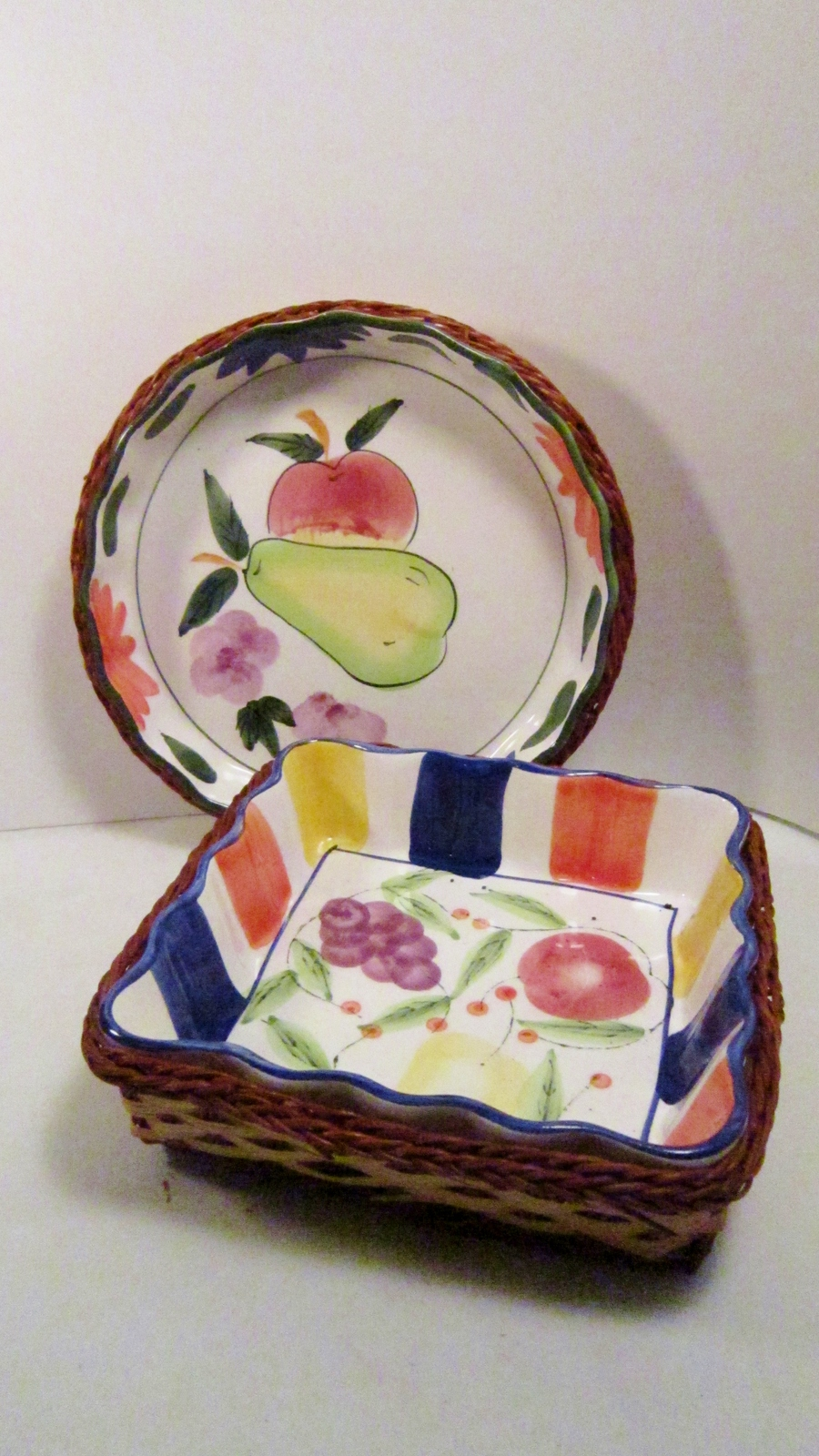 Fruit and flowers pottery serving bowls wicker basket holders 01