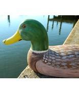 Vintage Mallard Drake Duck Decoy Wood Hand Carved Signed 1989 Large - $64.95
