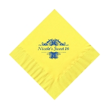 50 Personalized Damask Scroll Printed Beverage Cocktail Napkins - $9.95+