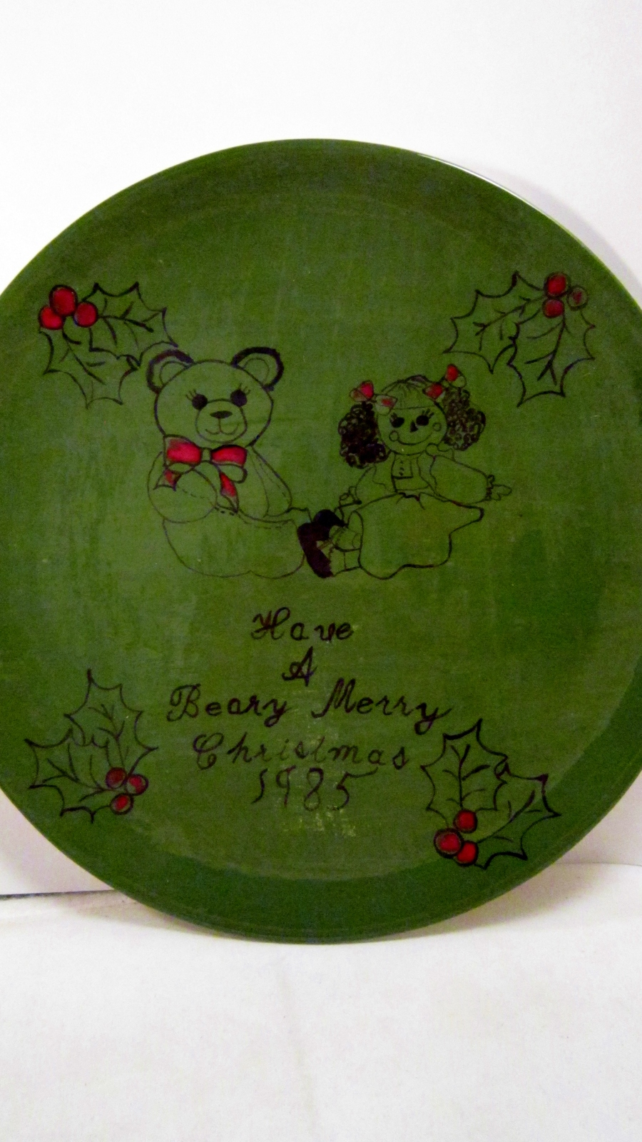Beary Merry Christmas 1985 Plate 10 inch Handmade Forest Green