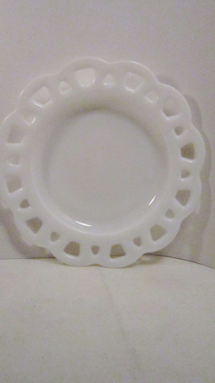 Primary image for Hazel Atlas 1940s Platonite Lace Edge Plate, White Glass Serving Dish