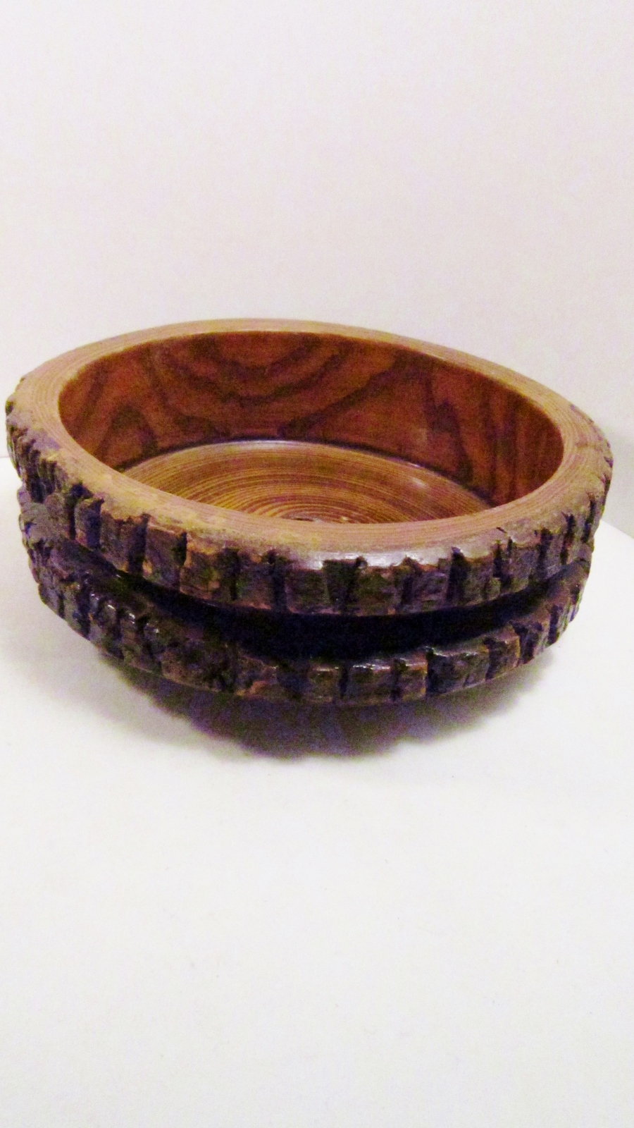 Rustic Wooden Stump Bowl, Natural Bark, Fine Grain, 9 inches across