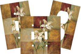 LILY PATCHWORK SQUARES FLOWER DUO LIGHT SWITCH PLATE COVER - $9.25+
