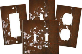 CHERRY BLOSSOMS ELEGANT BROWN FLORAL LIGHT SWITCH PLATE COVER - $9.00+