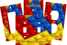 PERSONALIZED RED YELLOW BLUE LEGO BLOCKS LIGHT SWITCH PLATE COVER - $9.00+