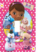 PERSONALIZED DOC MCSTUFFINS POLKA DOTS & FLOWERS LIGHT SWITCH PLATE COVER - $6.75