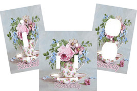 PERSONALIZED VINTAGE TEA CUP BLOSSOMS FLORAL LIGHT SWITCH PLATE COVER - $9.25+