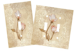 ROMANTIC ROSE PAIR SOFT FLORAL LIGHT SWITCH PLATE COVER - $9.50+