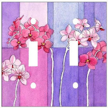 ORCHID FLOWER PURPLE BLUE PINK FLORAL DOUBLE SWITCH PLATE COVER - $7.25