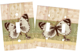 BUTTERFLIES EARTHY SAGE GREEN & BEIGE BUTTERFLY LIGHT SWITCH PLATE COVER - $9.50+