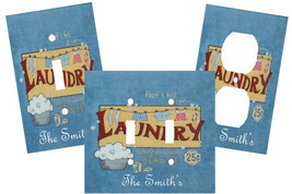 PERSONALIZED FLUFF & FOLD LAUNDRY ROOM  LIGHT SWITCH PLATE COVER - $9.25+