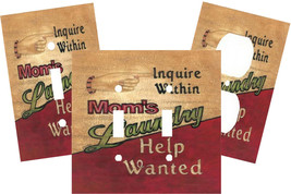 LAUNDRY ROOM MOM HELP WANTED LIGHT SWITCH PLATE COVER - $9.25+
