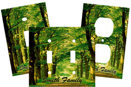 PERSONALIZED FORREST GREEN TREE PATH LIGHT SWITCH PLATE COVER - $9.25+