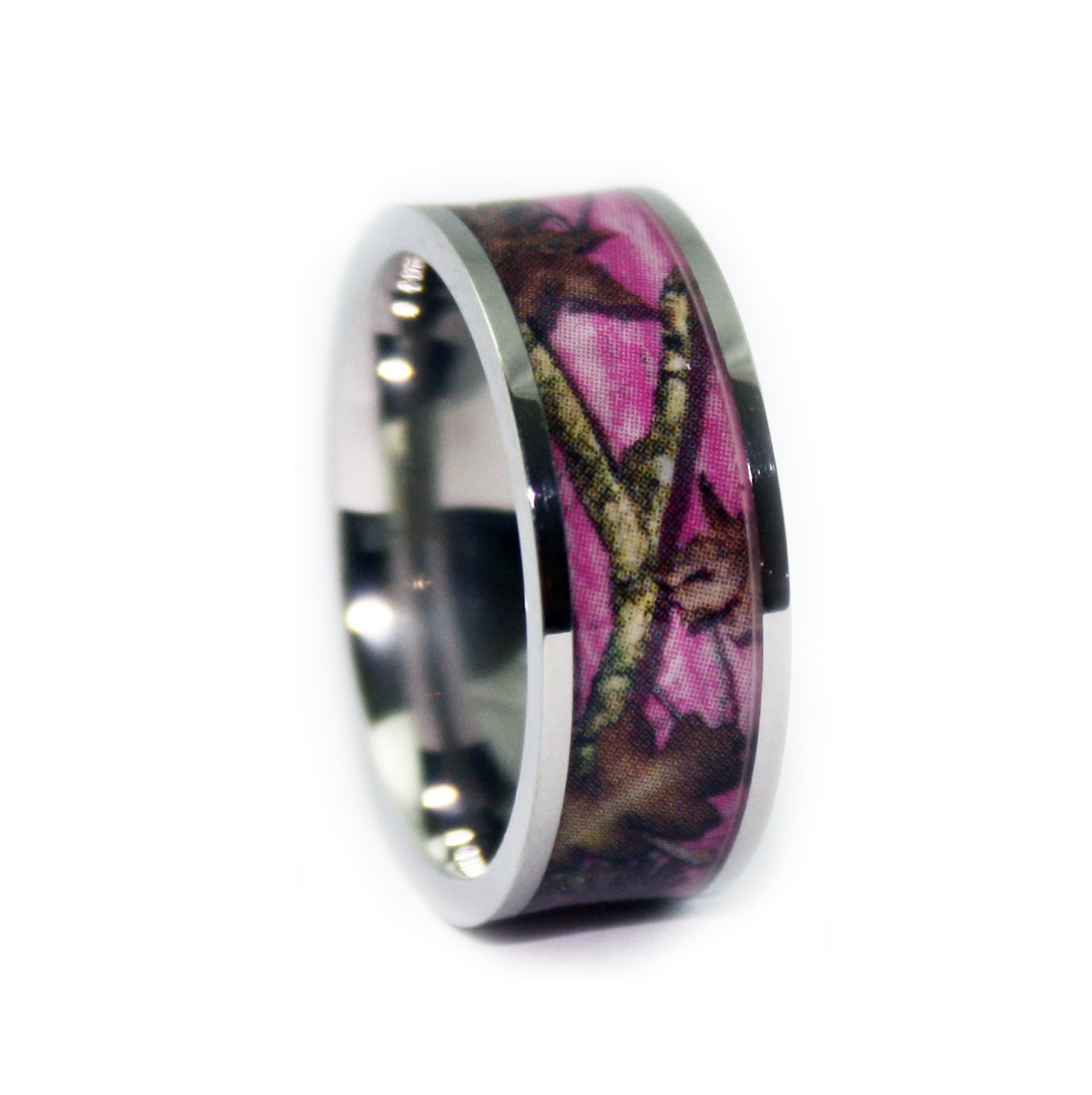 Camo wedding rings pink camo titanium wedding band for Wedding rings with pink