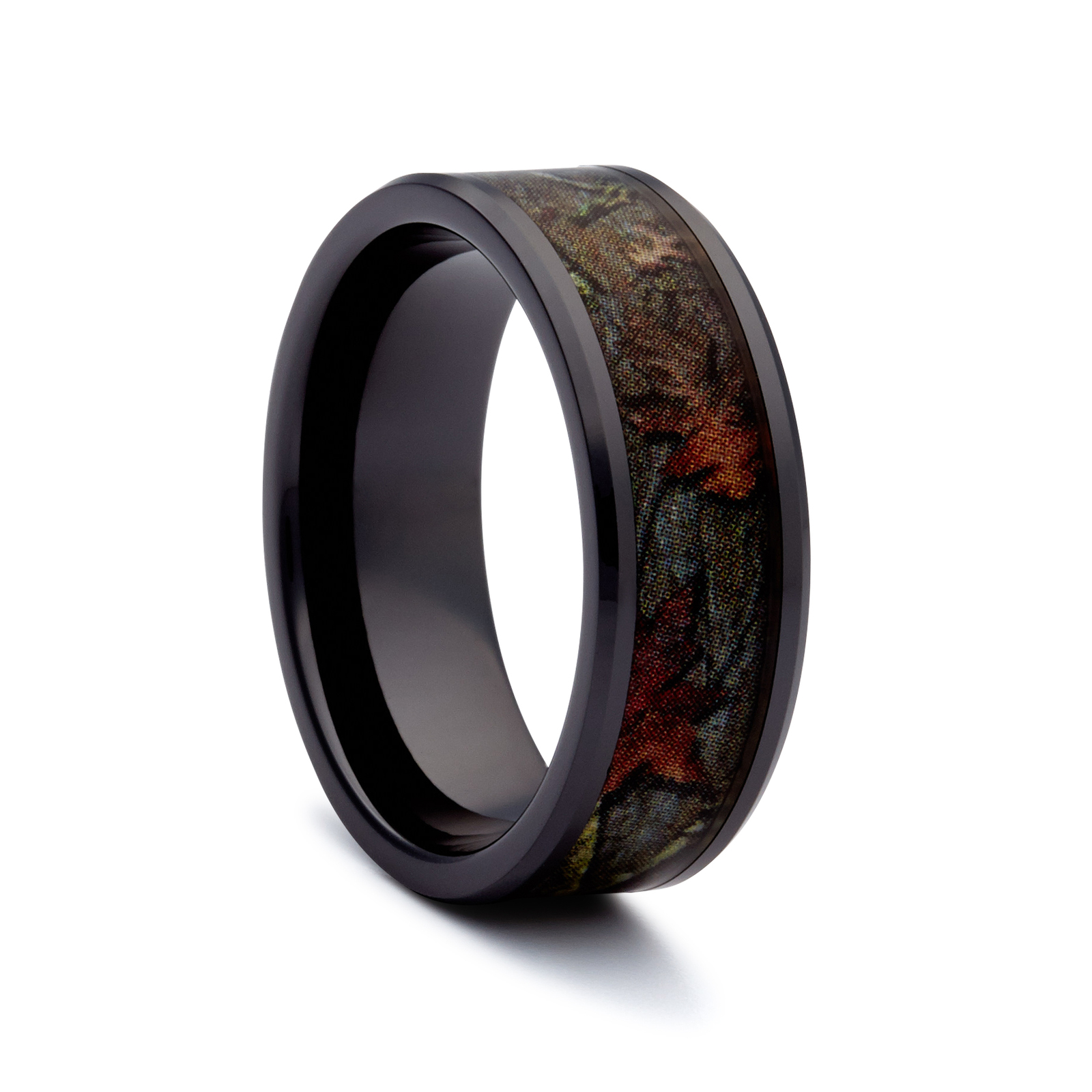 Camo wedding rings black ring ceramic rings hunting for Fishing wedding band