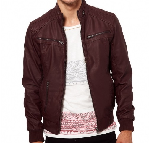Men maroon-color ban collar bomber biker leather, Mens ...