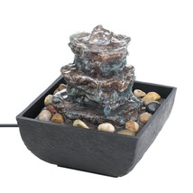 Tabletop Fountain Waterfall, Modern Table Fountains, Made With Polyresin - $33.28