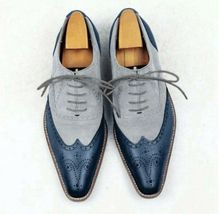 Handmade Blue & Gray Suede Leather Lace up Shoes for Men's - $135.00