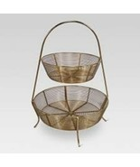 2-Tier Gold Plated Wire Basket - Threshold - Iron  (16.4 x 12.4 x 12.5) *Read* - $20.68