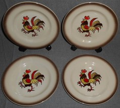 Set (4) Metlox RED ROOSTER PATTERN Dessert/B&B Plates MADE IN CALIFORNIA - $15.83
