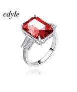Cdyle Crystals from Swarovski Female Anel 925 Silver Square Embellished ... - $30.72