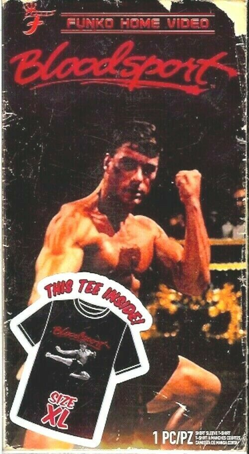Uomo Blood Sport Funko Home Video VHS Inscatolato Manica Corta Tee Esclusivo Nib