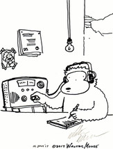 Radio Operator Ape. Original Signed Cartoon by Walter Moore - $9.44