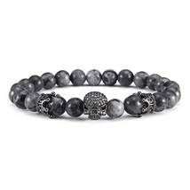 Mcllroy Gun Black Crown Spacer Cubic Zirconia Spartan Skull Bracelets For Men - $14.46