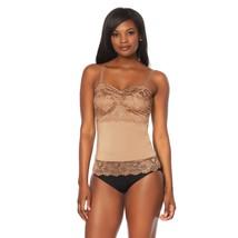 Rhonda Shear Lace Overlay Camisole in Nude, 1X (590-151) - $21.77