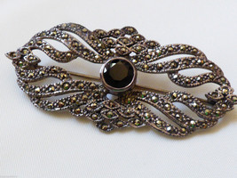 ACPS Art Deco Style  Sterling Silver Marcasite Black Onyx  Pin Brooch - $70.49