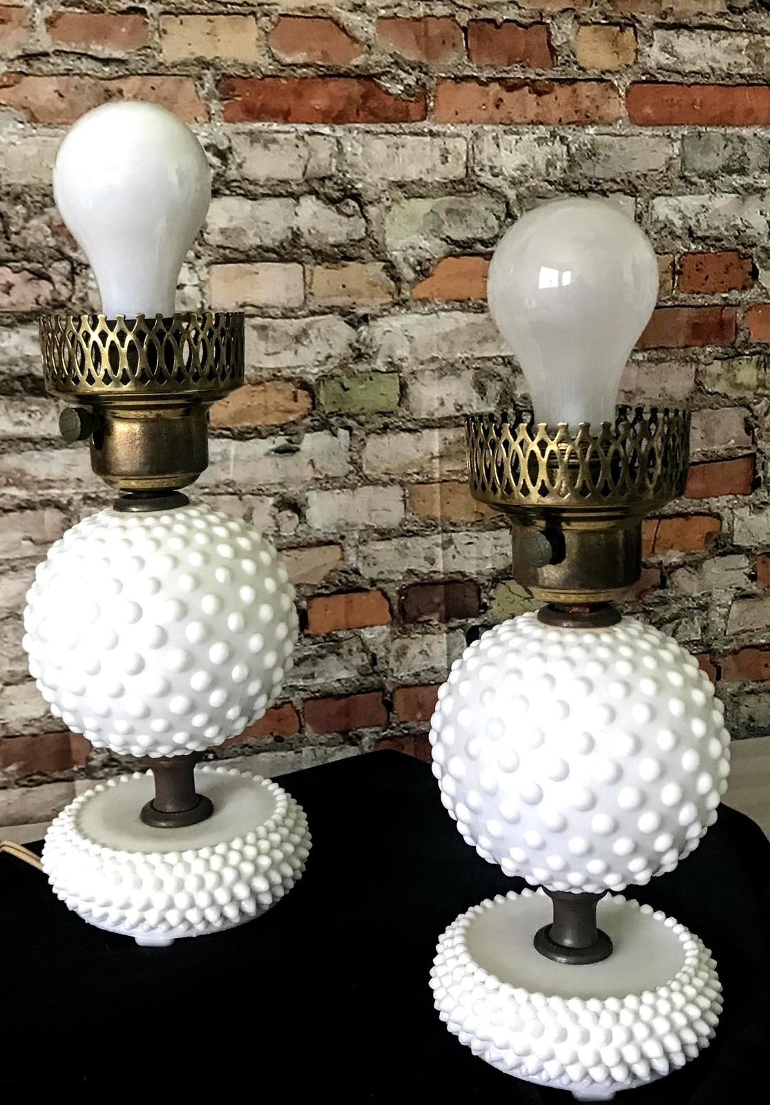 Vintage 1940s Fenton Lamps Set of Two Milk Glass Hobnail Pattern Design  - $49.28