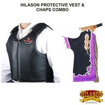 Hilason Bull Riding Pro Rodeo Black Leather Protective Vest & Chaps Combo U-ND-L - $339.95