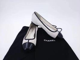 100% Authentic Chanel White Black Ballet Flats Slip On CC Logo Shoes 37C image 6