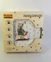 Boxed Set SAKURA by DEBBIE MUMM Sledding Characters Salad Plates 8.25 Inch - $19.56 CAD