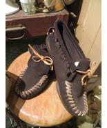 Vintage  dark brown Handsewn   Moccasins  Webster Rubber Company Shoes 8... - $30.50