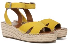 Franco Sarto Pellia Size 7 M EU 37 Women's Suede Espadrille Wedge Sandals Yellow - $38.56