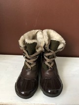 Anne Klein Sport GALENKA Womens Size 9 Natural Brown Laceup Faux Fur Duc... - $21.97