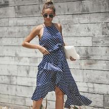Women's Brand Fashion Halter Polka Dot Wrap Sundress