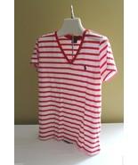 NWT Ralph Lauren Sport Cotton V-Neck T-Shirt Red White Striped Knit Top ... - $23.17