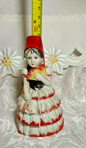 VINTAGE BELL FLAMBRO PORCELAIN BISQUE SPANISH FLAMENCO DANCER WOMAN BELL image 5