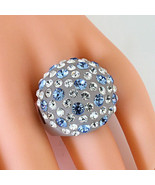 Frosted Acrylic Domed Ring Numerous Blue Clear Swarovski Elements Crysta... - $27.00