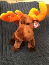 "Ty 1999 Large 13"" Plush Beanie Buddy Chocolate the Moose MWMT Retired - $11.87"