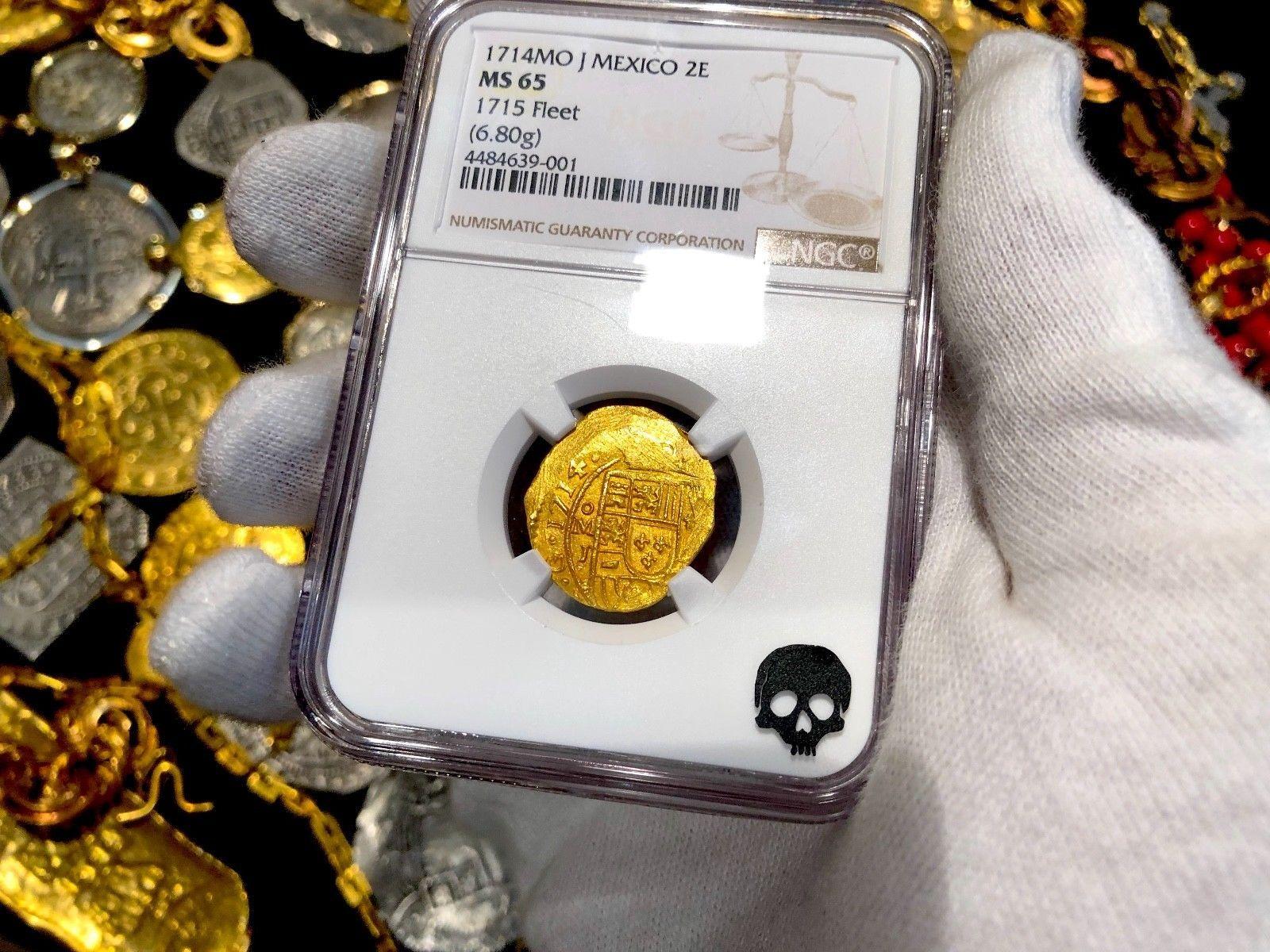 """MEXICO 1714 """"1715 FLEET"""" 2 ESCUDOS NGC 65 PIRATE GOLD COINS SHIPWRECK TREASURE"""