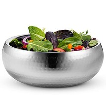 KooK Double Wall Serving Bowl - 11 Inch Hammered Style - Stainless Steel Soup, C