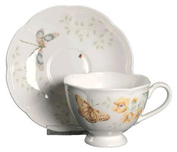 Lenox Butterfly Meadow Fritillary Footed Tea Cup and Saucer Set NEW in Box image 2
